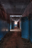 Corridor in the abandoned factory Stock Photography