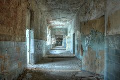 Corridor in an abandoned hospital in Beelitz Royalty Free Stock Photos