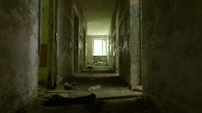 Corridor in the abandoned house. Smooth and fast steady cam shot