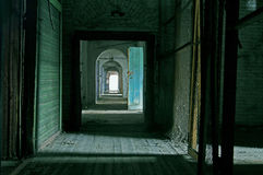 Corridor. In Abandoned Storehouse Building Royalty Free Stock Photo