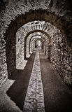 Corridor of an ancient castle. Picture with high contrast effect. Royalty Free Stock Photography