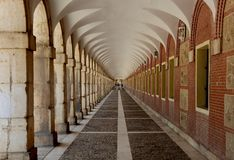 Corridor in the Royal Palace of Aranjuez. Corridor with arcades in a sector of the Royal Palace of Aranjuez, Spain Royalty Free Stock Photography