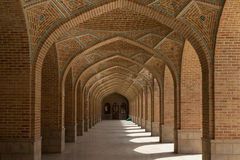 Corridor. Arched corridor in the courtyard of the 15th century Kabud mosque in Tabriz, Iran Royalty Free Stock Images