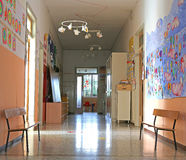 Corridor of the atrium of the kindergarten with drawings stock photography