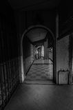 Corridor in black and white. This old town beautiful in black and white royalty free stock photography