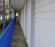 Corridor with blue railings Stock Photo