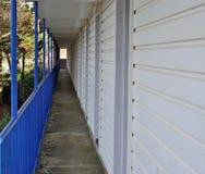 Corridor with blue railings. A corridor with blue railings Stock Photo