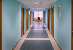 The corridor with blue walls Royalty Free Stock Photography