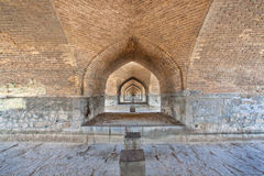 Corridor between the brick walls under the old bridge. In Isfahan, Iran, Middle East Royalty Free Stock Image