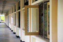 Corridor of building. Open window in corridor of building Royalty Free Stock Photo