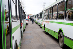 Corridor of buses Stock Images