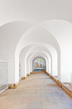Corridor with a ceiling in  form of arches in white. Corridor with a ceiling in the form of arches in white Royalty Free Stock Photos