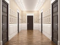 Corridor in classical style. 3d illustration. Abandoned design modern view Stock Photos