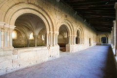 Corridor of the cloister of Flaran Abbey. A Cistercian monastery of the twelfth century, in Gascony, France royalty free stock images