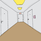 Corridor with Closed Doors Royalty Free Stock Photography