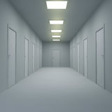 Corridor with closed doors and lighting. 3d illustration. Stock Images