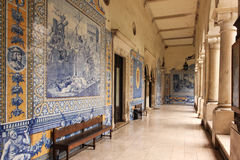 Corridor. College of Sao Tomas. Coimbra. Portugal Royalty Free Stock Photo