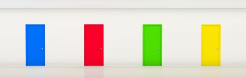 Corridor with color doors Royalty Free Stock Photos