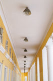 Corridor with columns. Perspective view of the corridor column Stock Photos