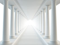 Corridor and columns. White (done in 3d vector illustration