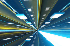 Corridor. A 3D rendered architecture interior of a tunnel Royalty Free Stock Photo