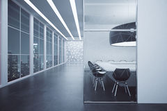 Corridor with dark conference room Royalty Free Stock Photography