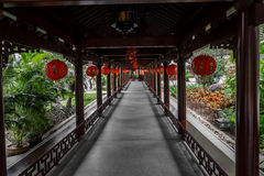 Corridor decorated with Chinese lanterns Royalty Free Stock Images