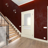 Corridor doors and wooden staircase Stock Photo