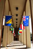Corridor of flags. A building corridor lined with flags Royalty Free Stock Image