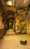 Corridor in a former medieval Gothic monastery Royalty Free Stock Photos