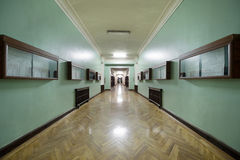 Corridor with glass information displays. In the Faculty of Physics in Moscow which was built in 1952 royalty free stock photos