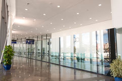 Corridor with glass and metal. Corridors with glass and metal of the new International Airport Terminal in Gibraltar Stock Photos
