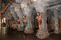 Corridor with Gods Statues. In Ramanathasvamy Temple royalty free stock images
