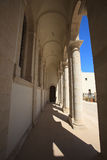 Corridor with Gothic columns at the temple in Cyprus Stock Photography