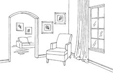 Corridor graphic room black white interior sketch illustration vector Stock Photo
