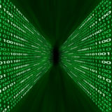 Corridor of green binary code Stock Photos