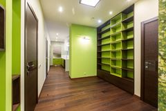 Design corridor in dark green tones. The corridor in green-brown tones, in which there are cabinets with shelves and a passage to the kitchen Stock Image
