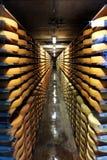 Corridor of Gruyere Cheese wheels Stock Photo