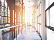 Corridor or hallway interior with glass windows. And garden view outside Stock Image