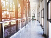 Corridor or hallway interior with glass windows. And garden view outside Royalty Free Stock Photo