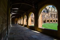 Corridor of heritage building at Sydney University, the image showing beautiful lights and its shadow. royalty free stock photos