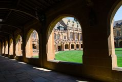 Corridor of heritage building at Sydney University, the image showing beautiful lights and its shadow. stock image