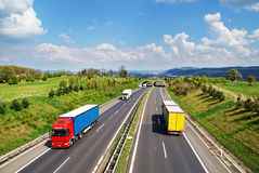 Corridor highway with the transition for animals, the highway ride colored and white trucks Royalty Free Stock Photo