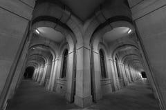 Classic corridor. Corridor of historic building at night stock images