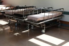 Corridor in hospital with beds. In the morning Stock Photography