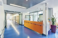 Corridor Hospital Reception Nobody Bed. Corridor in a hospital with counter reception bright and sunny nobody bed and plant In the background stock image