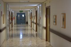 The corridor of a hospital. In the wards of the hospitals Stock Images