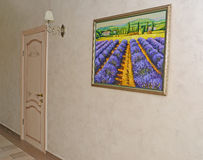 Corridor of hotel with a white door in number and a picture on a Stock Images