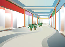 Corridor In Mall With Windows Stock Photos