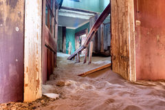 Corridor inside the abandoned house in sand Royalty Free Stock Photography